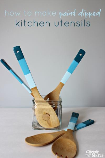 utensilios de cocina pintados azul