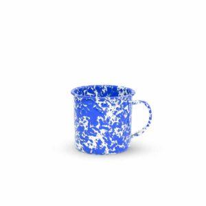 mug enamel azul y blanco