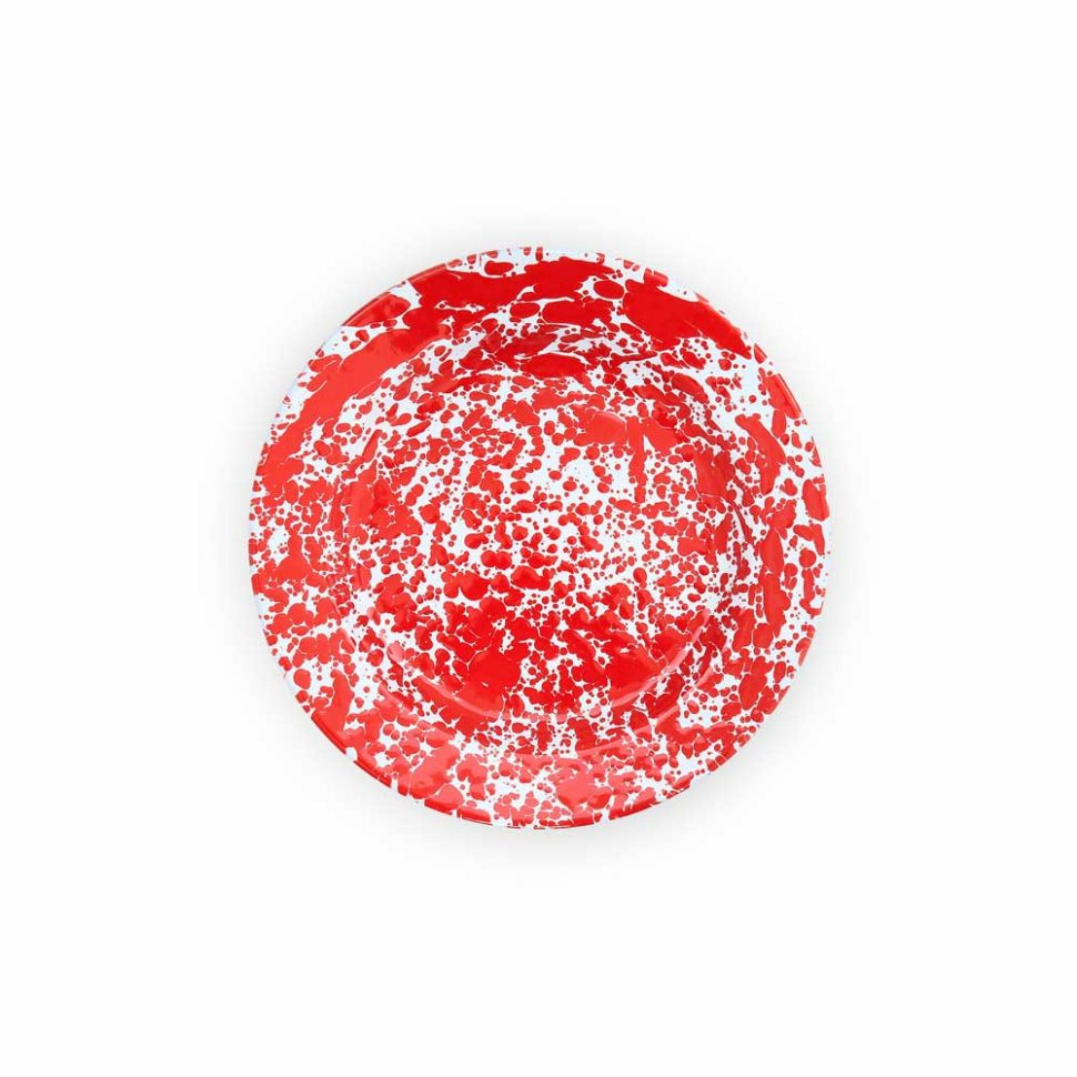 plato enamel rojo y blanco
