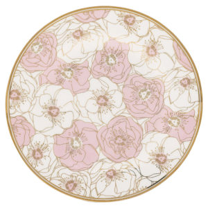 plato flori rosa y oro